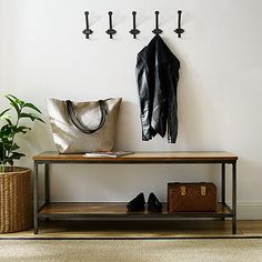Our Brooklyn Industrial Wood and Metal Bench makes for a stylish addition to any home! Its shelf is the perfect solution for keeping shoes up off of the floor. Wood Plank Shelves, Wood Storage Bench, Upholstered Storage Bench, Shoe Storage, Storage Ideas, Living Pequeños, Entry Bench, Entry Way Design, Leather Bench