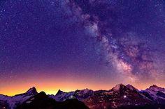 Sky Stars Mountains Switzerland Sunrises and sunsets Alps Nature wallpaper background