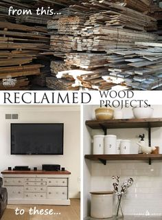 Custom Reclaimed Wood Projects by Prodigal Pieces www.prodigalpiece... #prodigalpieces Open kitchen shelving and plank top for entertainment center.