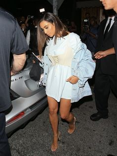 Pin for Later: Kim Kardashian Tested These 11 Fall Trends —and They're All Here to Stay A Corset to Cinch an Oversize Tee Kim skipped pants and styled hers with a white shirt and slouchy denim jacket.