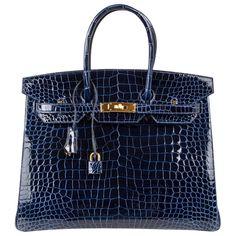 b50bd1d2f6f Hermes Birkin 35 Bag Blue Sapphire Porosus Crocodile Gold Hardware New  Hermes Bags, Hermes Handbags
