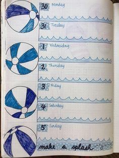 July, beach, water, beach ball, ocean, waves, splash, August, weekly, bullet journal, summer
