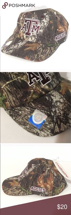 Texas A&M Aggies Mossy Oak Camouflage Cap Texas A&M Aggies Mossy Oak Camouflage Cap. New with tags. Officially licensed collegiate product. Captivating Headware. 100% polyester. One size fits all. Adjustable hat. Captivating Headware Accessories Hats