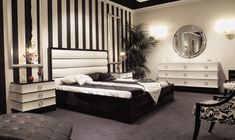 art deco interior design bedroom - great accent wall with the stripes