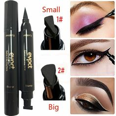 1pc Double-headed Seal Black Eyeliner Triangle Seal Eyeliner 2-in-1 Waterproof Eyes Make Kit With Eyeliner Pen New Sufficient Supply Beauty Essentials