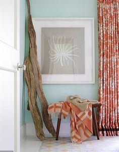 Coral-Seafoam-Coastal-Interior-Design-Vignette-500  [ dark wood, natural elements, seafoam, grey brown hues and pops of orange]