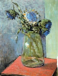 Impressionist art of beauty blue flowers