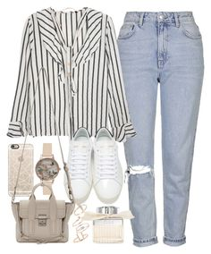 """Outfit with blue jeans and a stripped top"" by ferned ❤ liked on Polyvore featuring Topshop, Olivia Burton, Casetify, Yves Saint Laurent, 3.1 Phillip Lim, Chloé and Michael Kors"