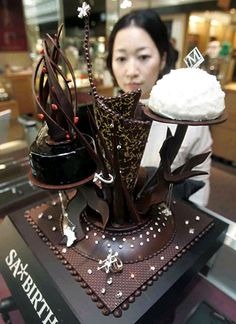 This modern cake is definitely one of the most expensive we've seen. The 14-inch-high cake was displayed in a department store in Osaka, Japan, back in 2006. It was decorated with 50 carats of diamonds. Price tag? 1 billion Yen ($11,261,300).