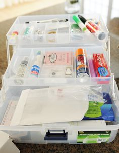 How to make a wedding emergency kit.  Great for transporting from wedding to reception to honeymoon.
