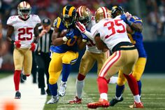 Todd Gurley #30 of the St. Louis Rams runs the ball up the sideline against the San Francisco 49ers in the second quarter at the Edward Jones Dome on November 1, 2015 in St. Louis, Missouri. (Oct. 31, 2015 - Source: Dilip Vishwanat/Getty Images North America)