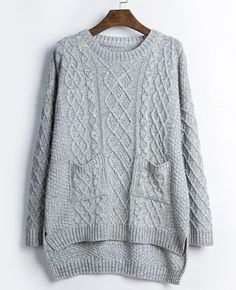 Gray Long Sleeve Casual Baggy Jumpers