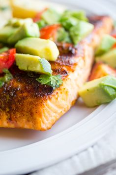 Chili-Rubbed Salmon with Avocado Salsa by sweetpeasandsaffron: On your plate in 20 minutes! #Salmon #Avocado #Chili