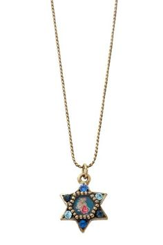 Michal Negrin Star of David Pendant with Roses Bouquet Cameo and Blue Swarovski Crystals