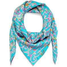 Teal Liberty London Garden Gates Silk Scarf (3.675 ARS) ❤ liked on Polyvore featuring accessories, scarves, pure silk scarves, tying silk scarves, teal shawl, teal scarves and liberty scarves