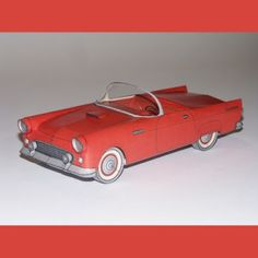 This papercraft 1956 Ford Thunderbird was created in 1957 by Otto Ravensburg, a German designer. The model is definitely not for beginners!