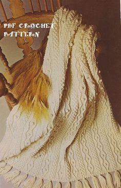 Instant Download Vintage Crochet Irish Afghan by KatnaboxCrochet