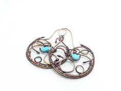 Hoop turquoise earrings. Wirewrapped copper by IaiaBijoux on Etsy