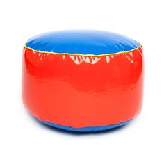 Children's Round Bean Bag Footstool, in fun and colorful primary colours A Fun accessory to any home made from durable gloss faux leather completely wipeable,  Ideal for reading, watching their favourite movie or TV program, the bold primary colour will brighten up any room in the home Easy clean Hard Wearing & Durable Concealed zipper Filled and Finished in the UK Product is fire retardant and meets 1988 Fire Regulations Dimensions: 45*45*25 cm  High quality, lightweight and portable