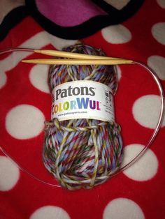 I used a Patons Colorwul yarn (the colors looked fun) and I used a size 7mm round knitting needle.