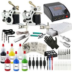 720pcs Complete Pro Kit Dual Power Supply 2 Tattoo Machine Kit