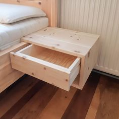 Practical hanging box made of solid pine wood. Due to the simple appearance of this bedside table made of stone pine to all stone pine beds and so the bed can be extended later – just hang in the bed frame. Bed Frame Design, Diy Bed Frame, Bed Design, Pallet Furniture, Bedroom Furniture, Furniture Design, Luxury Furniture, Home Bedroom, Bedroom Decor