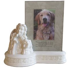Porcelain Angel with Dogs frame/urn ** Save this wonderfull item : Dog Memorials