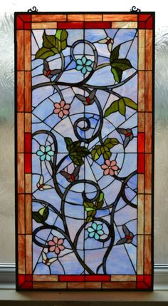Handmade Tiffany Stained Glass Window Panel - Flower & Butterfly