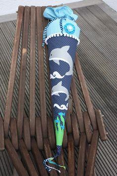 Schultüten - Schultüte / Zuckertüte aus Stoff Delfine grau - ein Designerstück von larimari bei DaWanda