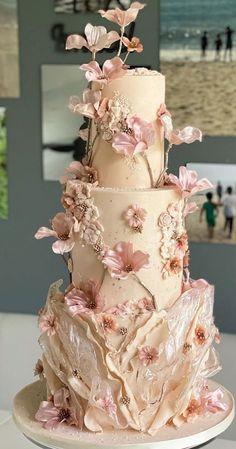 Pretty Wedding Cakes, Elegant Wedding Cakes, Wedding Cake Designs, Pretty Cakes, Beautiful Cakes, Pink Wedding Cakes, Floral Wedding, Rustic Wedding, Debut Cake