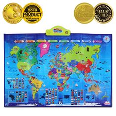 BEST LEARNING i-Poster My World Interactive Map - Educational Talking Toy for Kids of Ages 5 to 12 Years * For more information, visit image link. (This is an affiliate link)