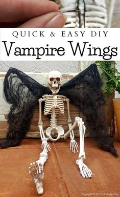 How to make vampire wings to add to your Halloween decor. A quick and easy craft idea for all ages #ACraftyMix #FunHalloweenCraft #EasyHalloweenCraft #HalloweenDIY #HalloweenCraft #HolidayCraft Easy Halloween Crafts, Diy Halloween Decorations, Holiday Crafts, Halloween Party, Quick And Easy Crafts, Easy Diy, Diy Home Crafts, Fun Crafts, Outdoor Candles
