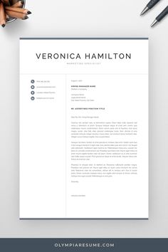 When applying for jobs, including a cover letter can make a difference. Use a professional, well-designed cover letter template, so that you can focus on writing great content instead of stressing about the formatting. Get the professional resume template pack Veronica with matching resume, cover letter and references templates, and create an impressive job application today! #coverletter #resume #resumetemplate #cv #cvtemplate #resumetips #career #careertips #job #jobsearch Creative Cv Template, One Page Resume Template, Modern Resume Template, Cover Letter For Resume, Cover Letter Template, Cover Letters, Resume References, Microsoft Word 2007, Professional Resume