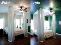 Love this idea over the bed- Emerald green is one of my favs but the wall and ceiling is a bit much!