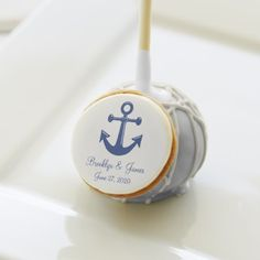 Chocolate Nautical Wedding Cake Pops With Anchor Dozen chocolate nautical wedding cake pops with anchor, white chocolate icing and white drizzle and customizable text - you can add bride's and groom's names and wedding date...