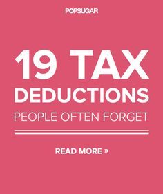 Don't Miss Out on the 19 Most-Overlooked Tax Deductions-This is for 2013 taxes filing) but may be worth going back over taxes and filing an amendment. Also links to a good resource for up-to-date tax info. Ways To Save Money, Money Tips, Money Saving Tips, Money Hacks, Just In Case, Just For You, Blogging, Tax Deductions, Tax Refund