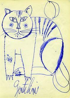 Drawing by Franco Gentilini, 1956, Gatto.