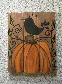 Fall Canvas Painting, Pallet Painting, Autumn Painting, Pallet Art, Autumn Art, Halloween Wood Crafts, Fall Crafts, Fall Halloween, Halloween Ideas