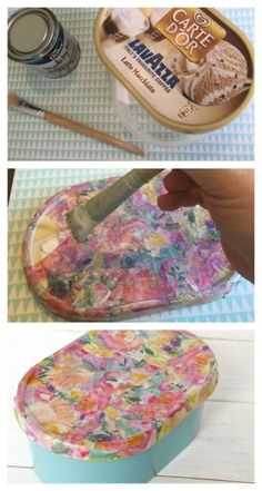 How to upcycle an empty ice cream carton into a pretty gift or storage box. Ice Cream Containers, Plastic Food Containers, Diy Magazine Holder, Diy Storage Boxes, Pretty Storage Boxes, Storage Containers, Diy Recycling, Frugal Family, Frugal Living