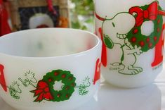 Vintage Fire King Christmas Snoopy Cup & Bowl