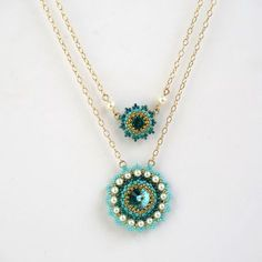 Gold layered necklace, Turquoise statement necklace, Layered gold necklace, Multi strand turquoise necklace, Turquoise pendant necklace