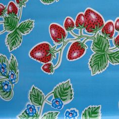 Mexican Oilcloth Strawberries Blue