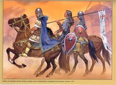 Eléonore d'Aquitaine entrant dans Constantinople, avecdes  cavaliers byzantins en 1147. Illustration d'Angus Mc Bride.