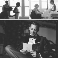 Bride and groom prep for their Mallard Island Yacht Club wedding. Captured by NJ wedding photographer Ben Lau.
