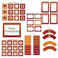 Free printable Thanksgiving food labels, invitations, cupcake wrappers, etc.