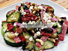 Low Carb - Cucumber Greek Salad with Balsamic Shallot Vinaigretter -     Peace, Love, and Low Carb