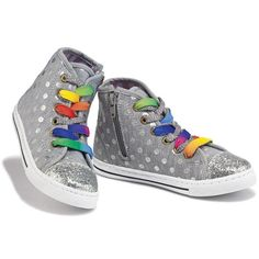 Go on a lace craze! Cute high-top sneakers with two sets of laces (rainbow and grey with silver sparkles) to mix and match! Polyester. Imported.Half sizes order up.
