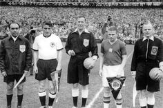 "West Germany captain Fritz Walter and Hungary's Ferenc Puskas undergo the pre-match procedures before the 1954 World Cup final, or as it became known, ""Das Wunder von Bern"". Germany pulled a remarkable upset coming from behind to win the match 3-2...."
