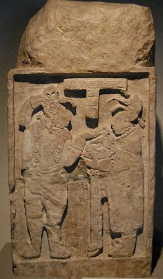 One of the famous lintels from the ancient Maya site of Yaxchilan in Chiapas Mexico. Museum of anthropology Mexico City