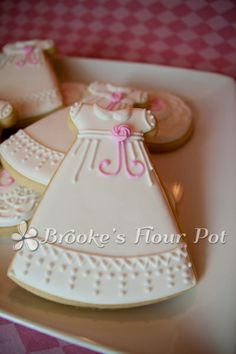 Beautiful Christening Gown or First Communion Dress COOKIE!! Gallery for Brooke's Flour Pot Cookies - Brooke's Flour Pot